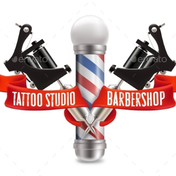 Tattoo Studio and Barber Shop Label Vector