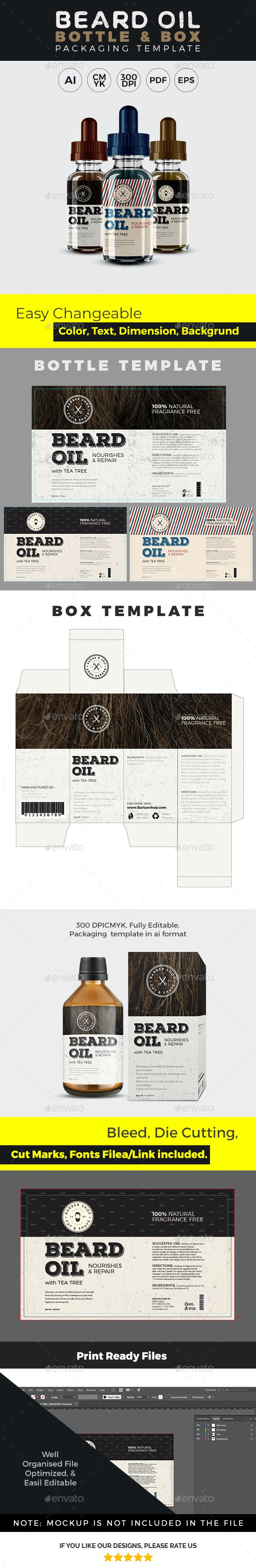 High Quality Beard Label Template - Packaging Print Templates