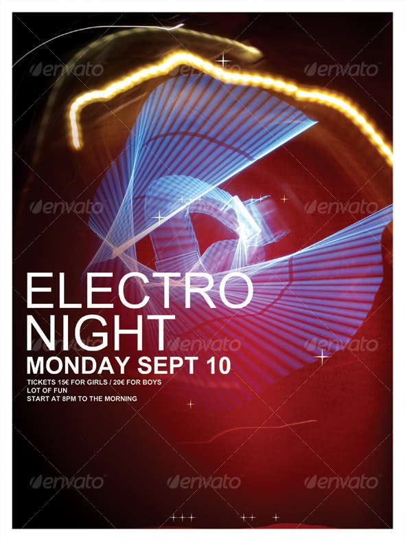 NEW ELECTRO NIGHT POSTER/FLYER - Clubs & Parties Events