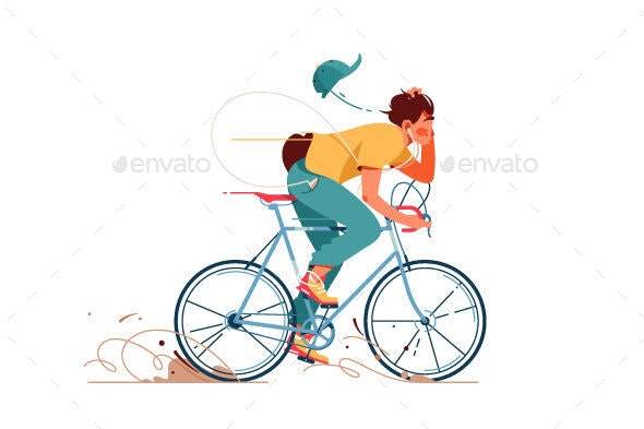 Young Man Rides Sport Bicycle Listening To Music - Sports/Activity Conceptual