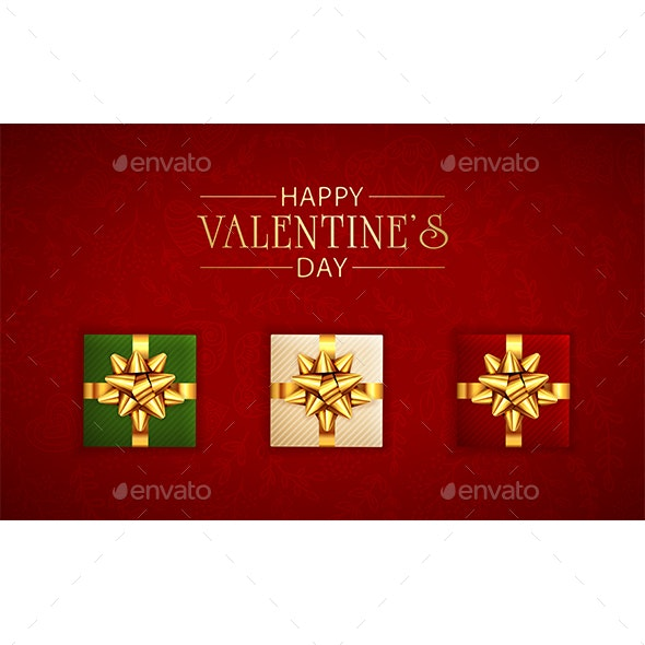 Valentines Lettering and Gifts with Golden Holiday Bow on Red Background - Valentines Seasons/Holidays