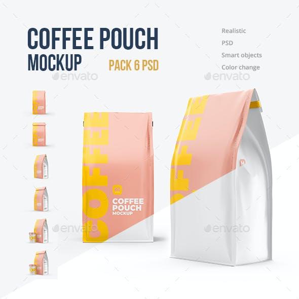 6 PSD Coffee Pouch mockup
