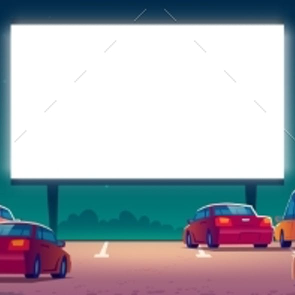 Outdoor Cinema Drive-in Movie Theater with Cars