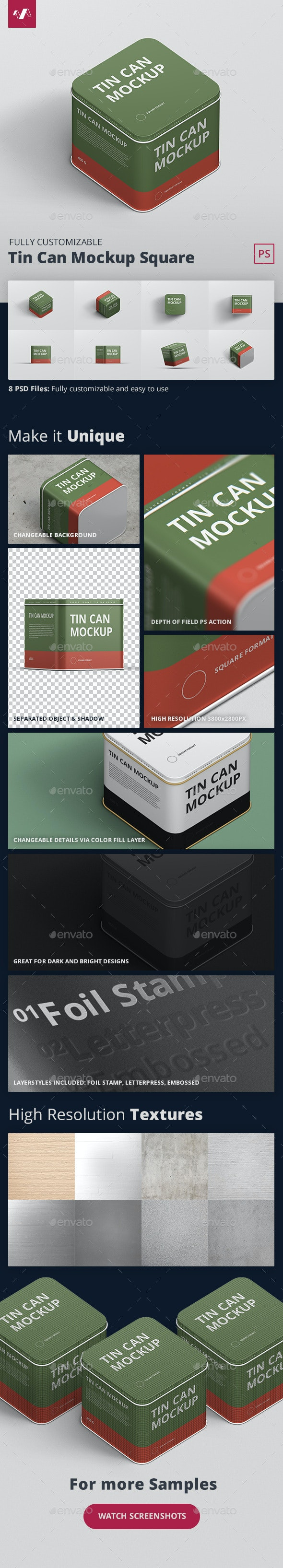 Tin Can Mockup Square - Miscellaneous Packaging