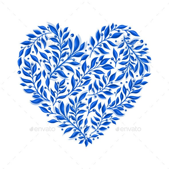 Vector Blue Floral Watercolor Heart - Flowers & Plants Nature