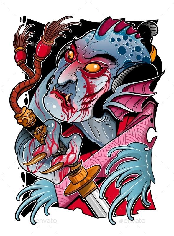 Japanese Sea Devil with a Samurai Sword - Miscellaneous Vectors