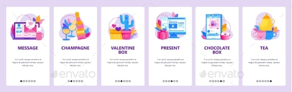 Love Message and Romantic Dinner. Valentine Day - Web Elements Vectors
