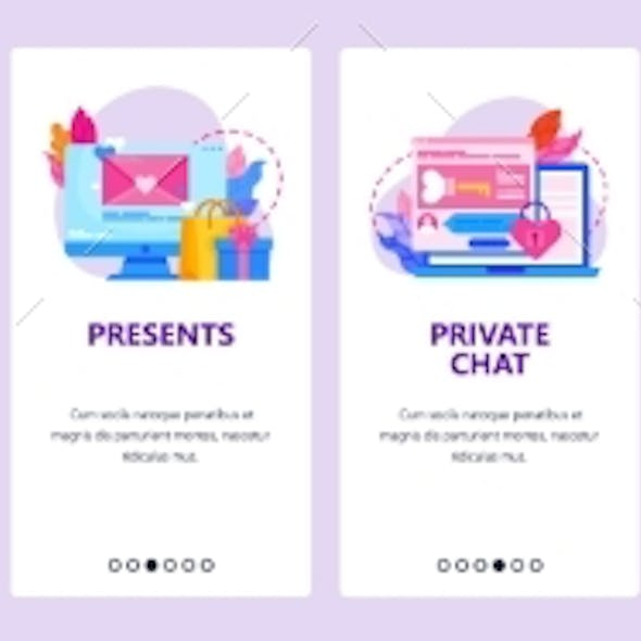 Love Letter and Romantic Gift Icons. Diary