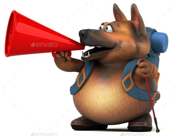 Fun German Shepherd Dog - Animals Illustrations