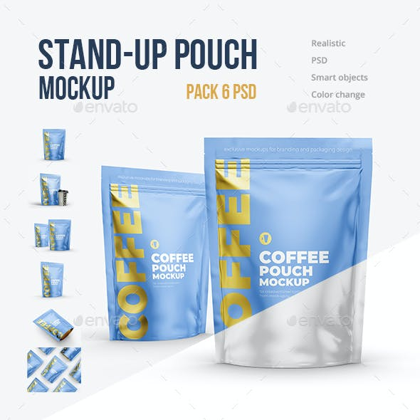 6 PSD Stand-Up Zipper Pouch Mockup