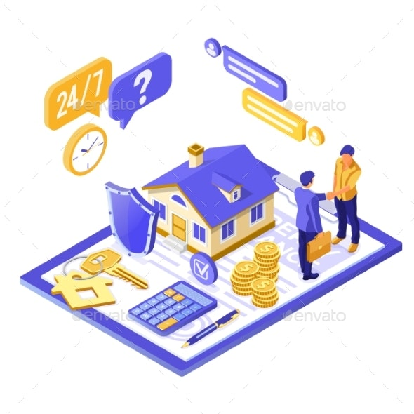 Propery House Insurance Isometric - Concepts Business