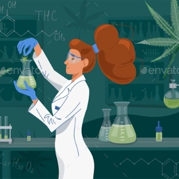 Female Scientist in Labcoat Wearing Nitrile Gloves
