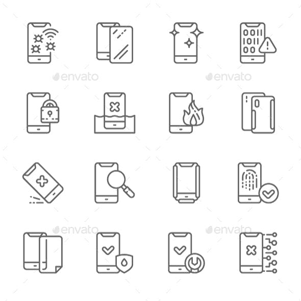Set Of Phone Repair Line Icons. Pack Of 64x64 Pixel Icons
