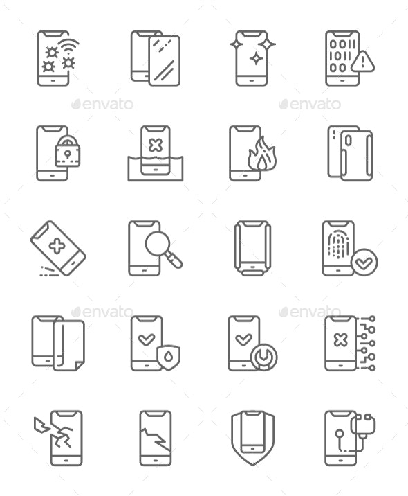 Set Of Phone Repair Line Icons. Pack Of 64x64 Pixel Icons - Technology Icons