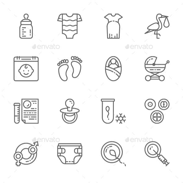 Set Of Pregnancy  Line Icons. Pack Of 64x64 Pixel Icons