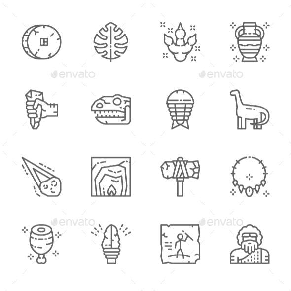 Set Of Prehistoric Age  Line Icons. Pack Of 64x64 Pixel Icons