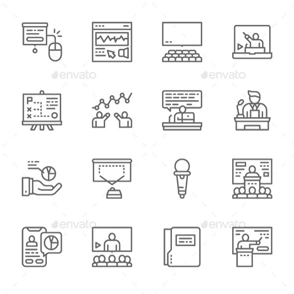 Set Of Business Presentation  Line Icons. Pack Of 64x64 Pixel Icons