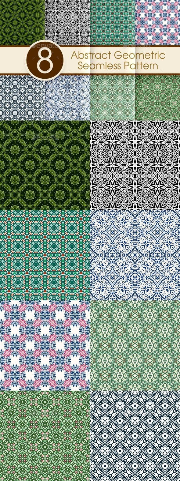 Abstract Geometric Seamless Pattern Collection - Patterns Decorative