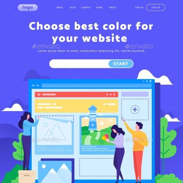 Vector Web Site Design Template. Team Choose Color