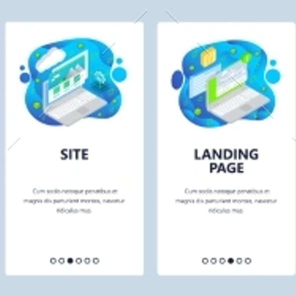 Mobile App Onboarding Screens. Landing Page and