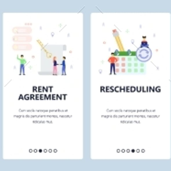 Mobile App Onboarding Screens. Business Icons