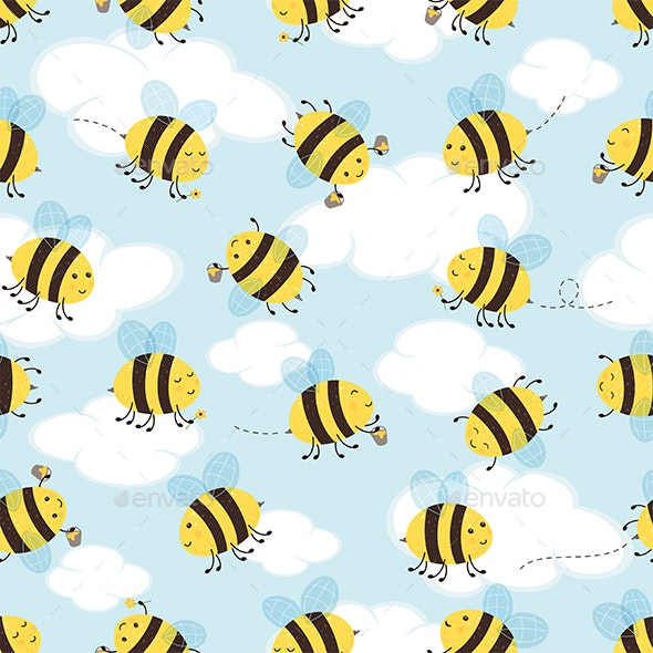 Seamless Sky Background with Bees - Animals Characters