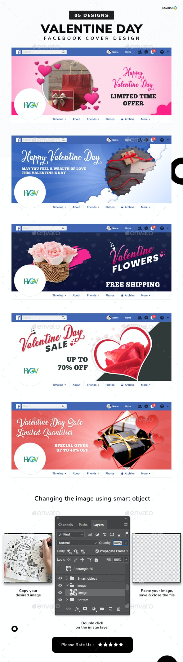 Valentine's Day Facebook Cover Templates - 05 Designs - Facebook Timeline Covers Social Media