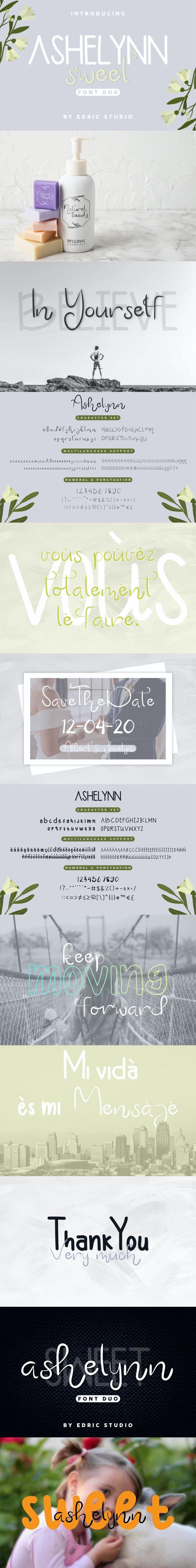 Ashelynn Sweet Font Duo - Handwriting Fonts