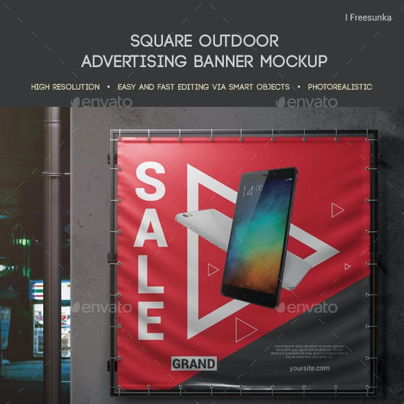 Square Outdoor Advertising Banner Mockup