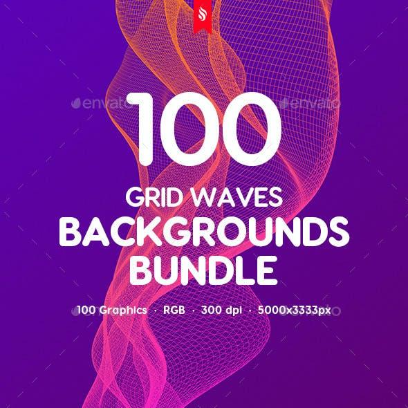 100 Grid Waves Backgrounds Bundle