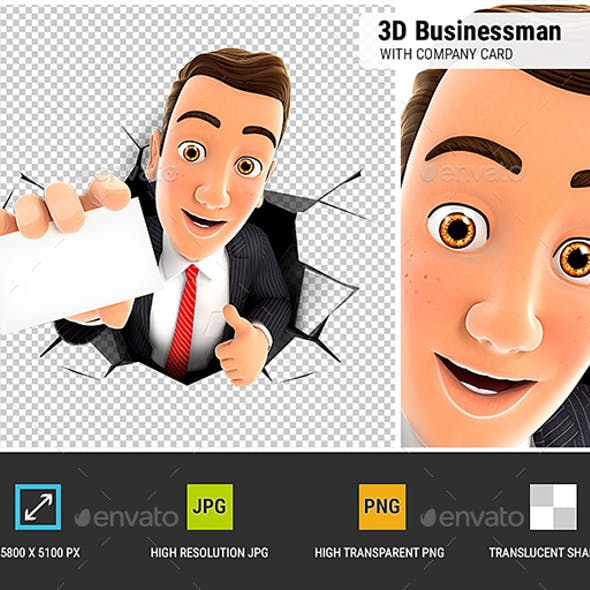 3D Businessman Coming Out Through a Wall with Company Card