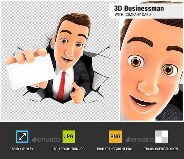 3D Businessman Coming Out Through a Wall with Company Card - Characters 3D Renders