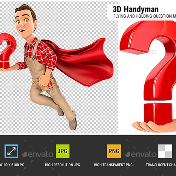 3D Handyman Flying and Holding Question Mark