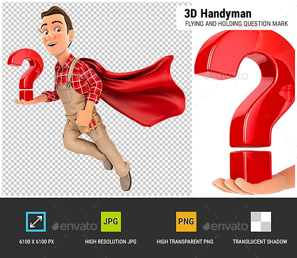 3D Handyman Flying and Holding Question Mark - Characters 3D Renders