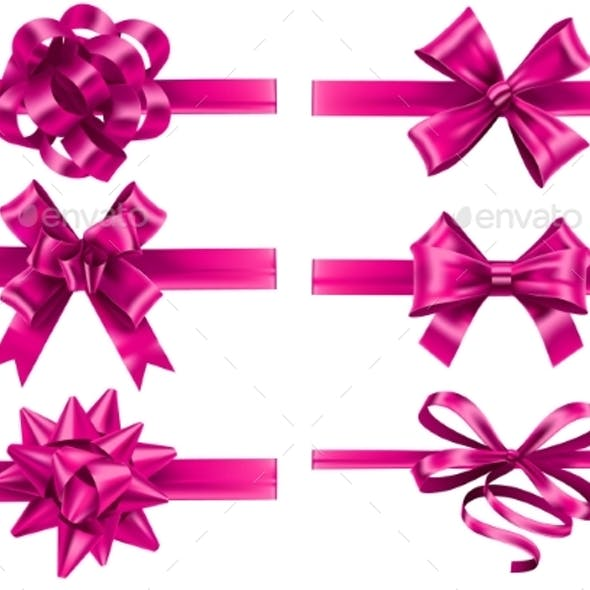 Realistic Pink Ribbons with Bows Festive Wrapping