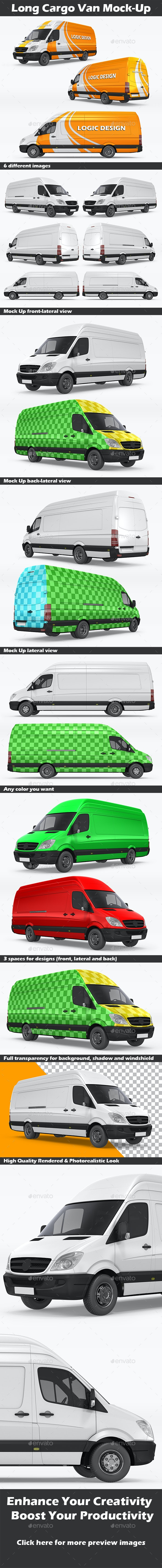 Long Cargo Van Mock-Up - Vehicle Wraps Print
