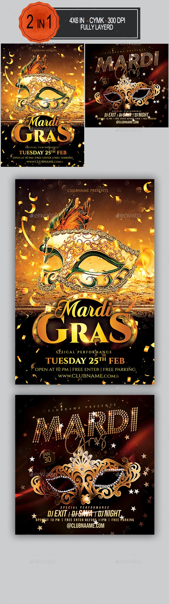 Mardi Gras Flyer Bundle - Clubs & Parties Events