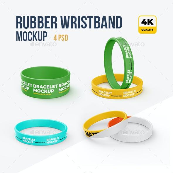 4 PSD Rubber Wristbands