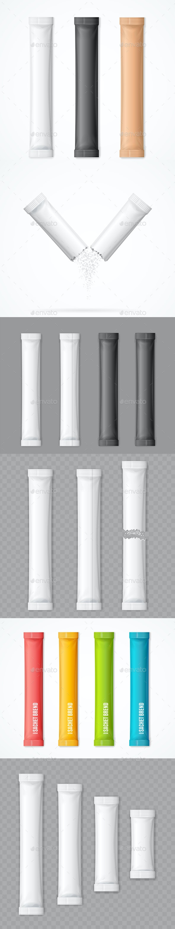 Realistic Detailed Matte Sachet Stick Set - Man-made Objects Objects