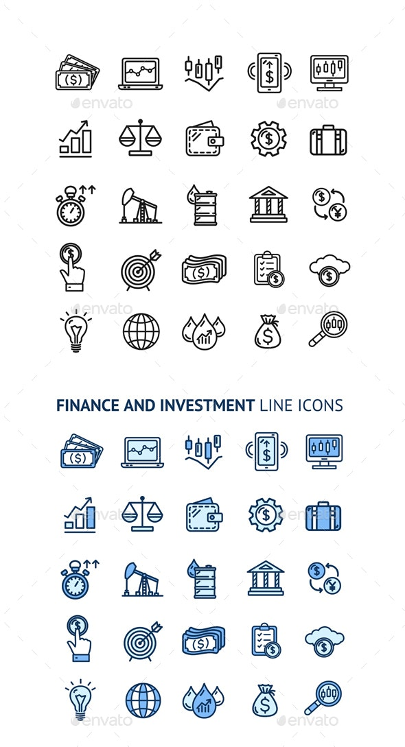 Finance Investment Sign Color Thin Line Icon Set - Concepts Business