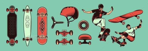 Skateboarding Color Hand Drawn Set - Sports/Activity Conceptual