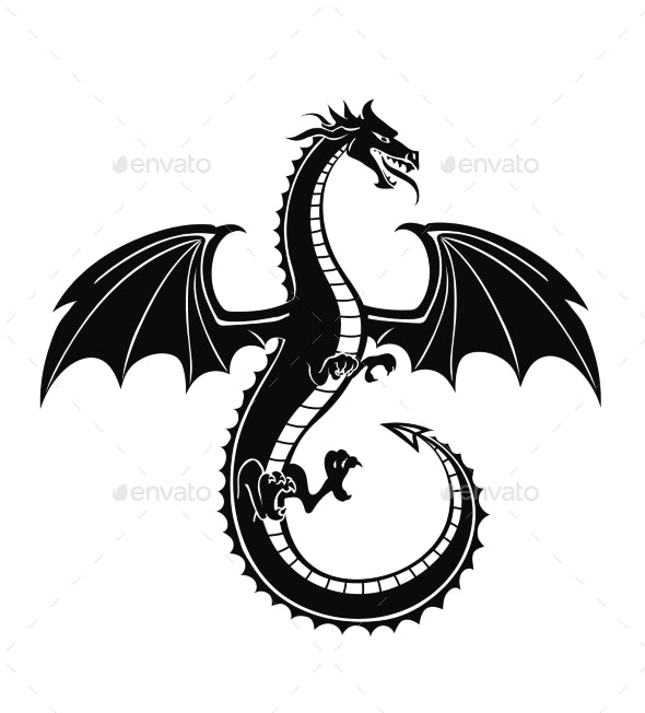 Black Silhouette of the Dragon Vector - Monsters Characters