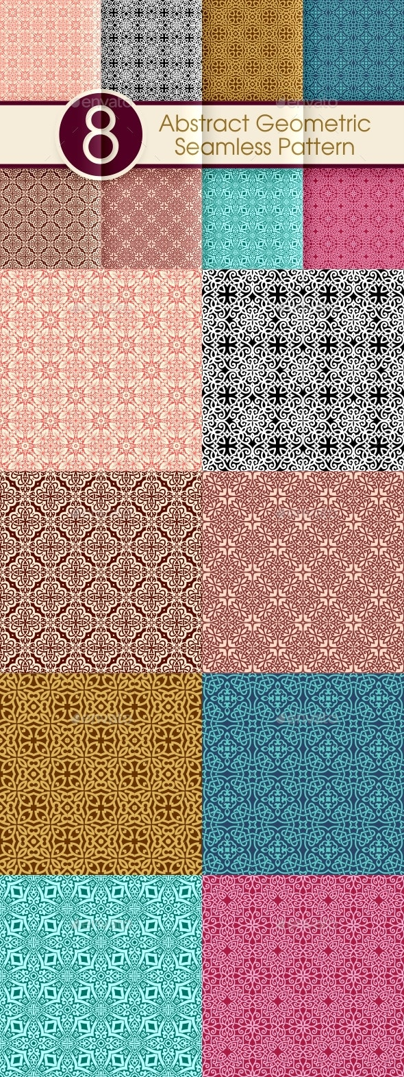 Abstract Geometric Seamless Pattern Collection 003 - Patterns Decorative
