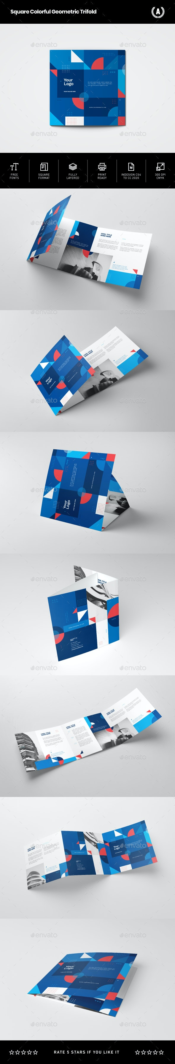 Square Colorful Geometric Trifold - Brochures Print Templates