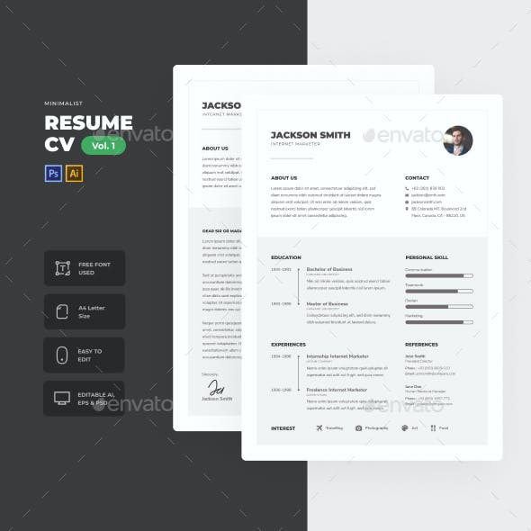 Minimalist Clean CV Resume Vol. 1