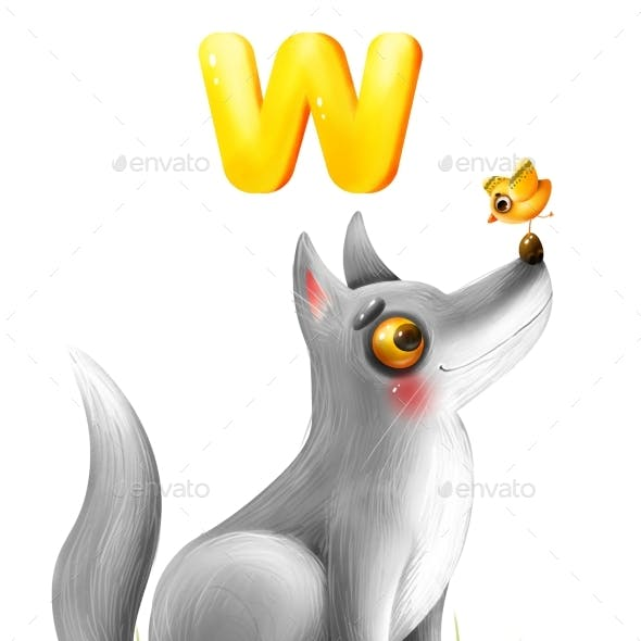 Good Cartoon Wolf with the Letter of the Alphabet