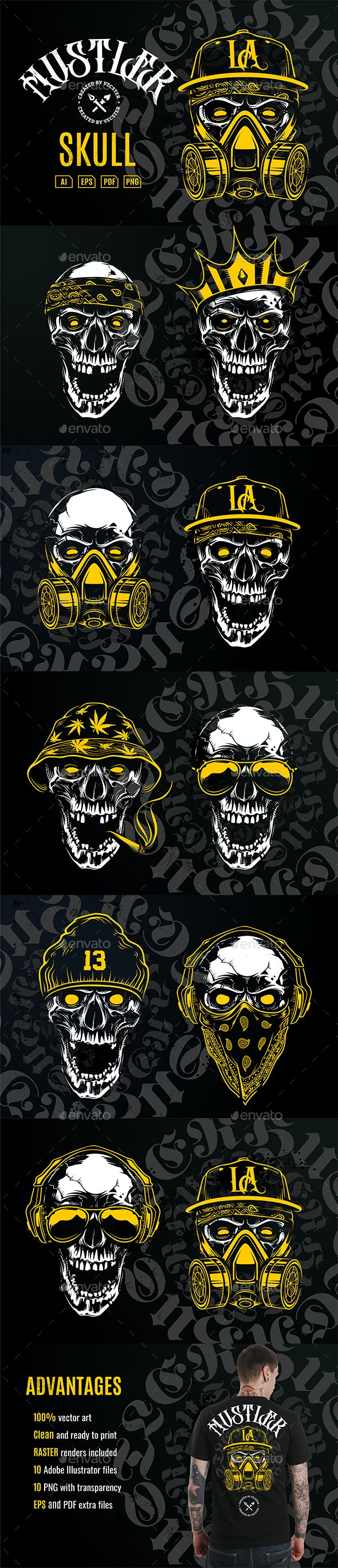 Hustler Skull Vector Art - Tattoos Vectors