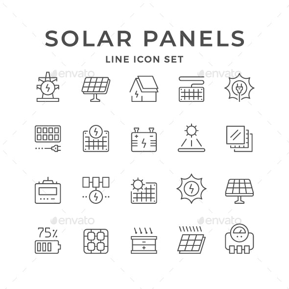 Set Line Icons of Solar Panels - Man-made objects Objects