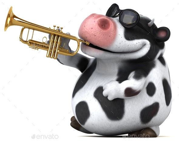 Fun Cow with Saxophone - Animals Illustrations