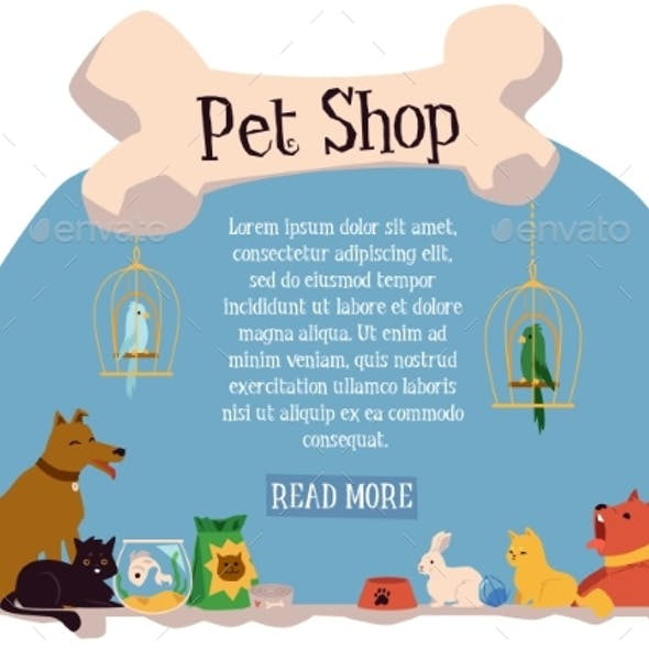 Domestic Animals Characters in Pet Shop Banner
